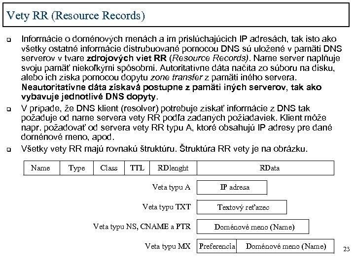 Vety RR (Resource Records) q q q Informácie o doménových menách a im prislúchajúcich