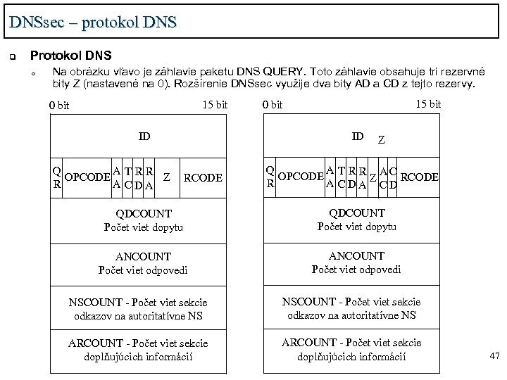 DNSsec – protokol DNS q Protokol DNS o Na obrázku vľavo je záhlavie paketu