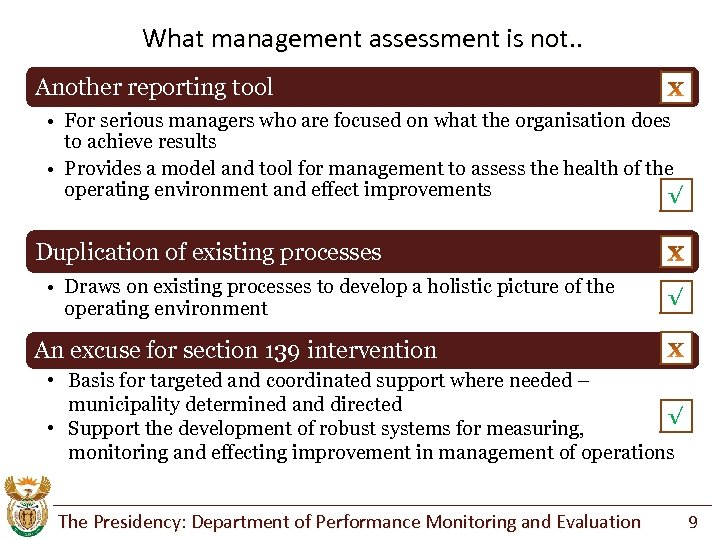 What management assessment is not. . Another reporting tool • For serious managers who