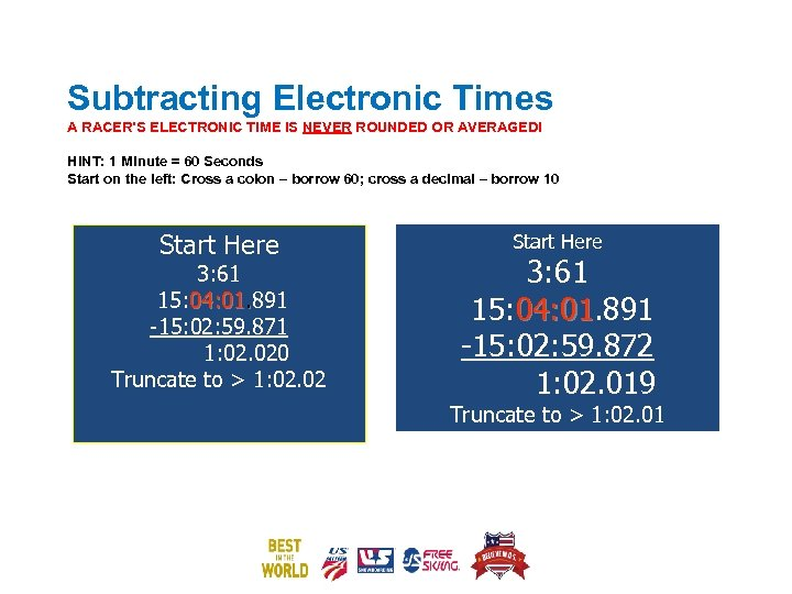 Subtracting Electronic Times A RACER'S ELECTRONIC TIME IS NEVER ROUNDED OR AVERAGED! HINT: 1