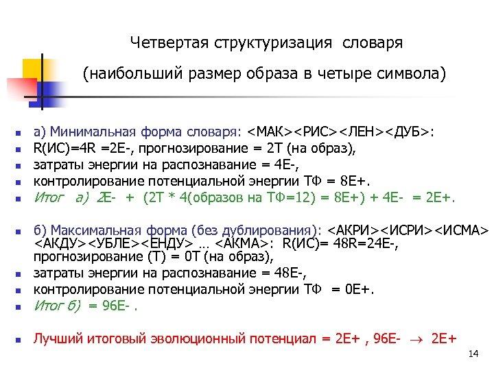 Четвертая структуризация словаря (наибольший размер образа в четыре символа) n n n а)