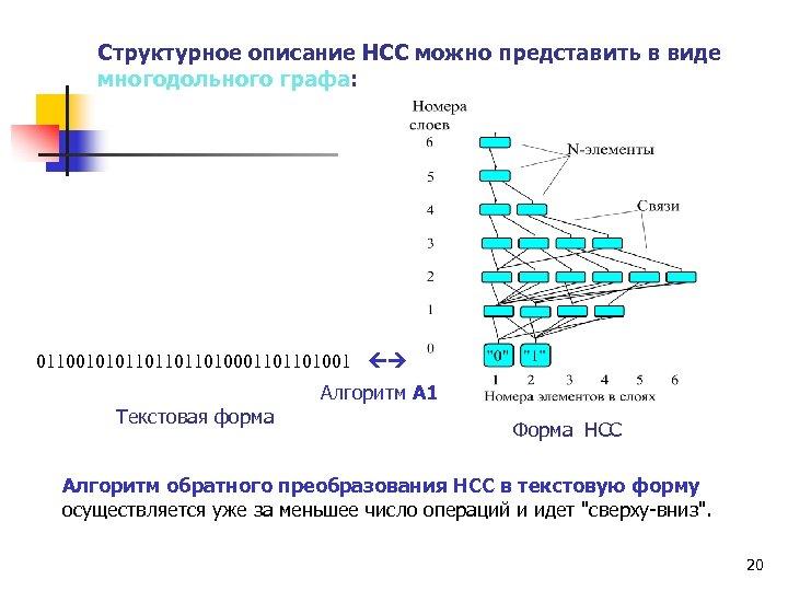 Структурное описание НСС можно представить в виде многодольного графа: 01100101011010001101101001 Алгоритм А 1 Текстовая