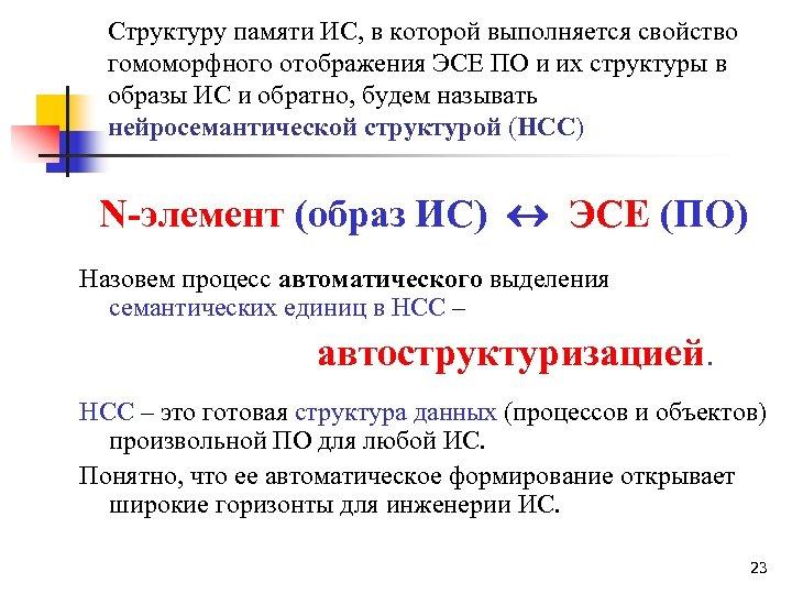 Структуру памяти ИС, в которой выполняется свойство гомоморфного отображения ЭСЕ ПО и их структуры