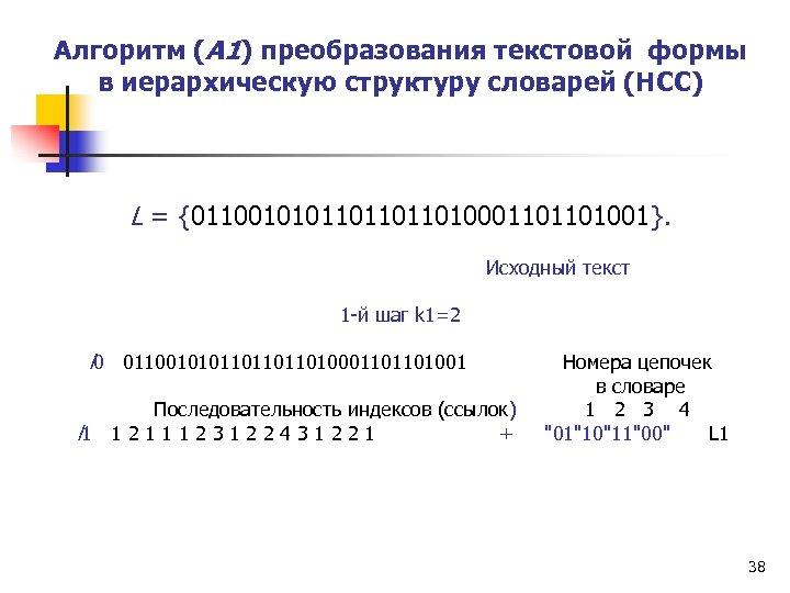 Алгоритм (А 1) преобразования текстовой формы в иерархическую структуру словарей (НСС) L = {01100101011010001101101001}.