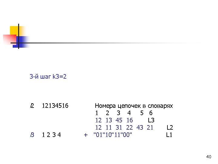3 -й шаг k 3=2 l 2 12134516 Номера цепочек в словарях 1 2