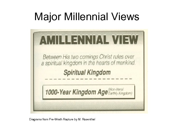 Major Millennial Views Diagrams from Pre-Wrath Rapture by M. Rosenthal