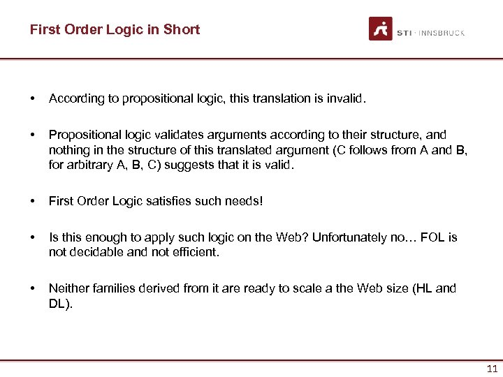 First Order Logic in Short • According to propositional logic, this translation is invalid.