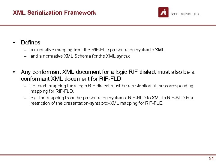 XML Serialization Framework • Defines – a normative mapping from the RIF-FLD presentation syntax