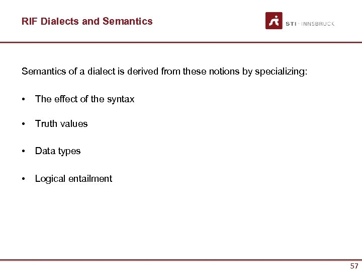 RIF Dialects and Semantics of a dialect is derived from these notions by specializing: