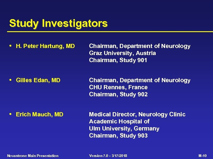 Study Investigators • H. Peter Hartung, MD Chairman, Department of Neurology Graz University, Austria