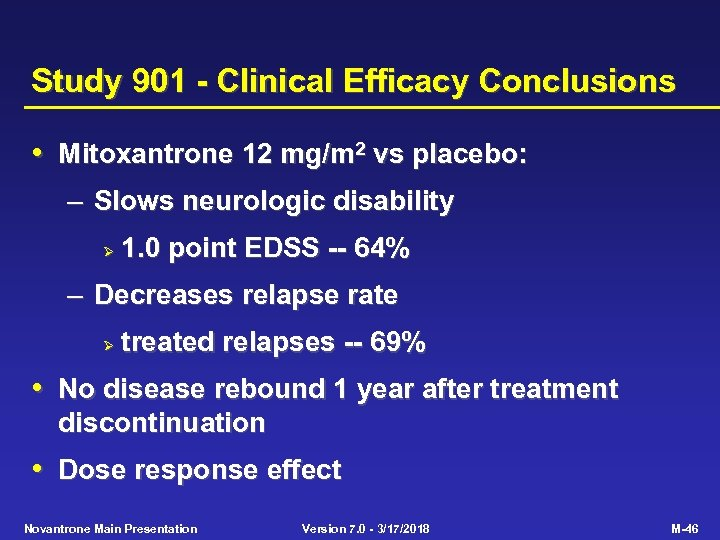 Study 901 - Clinical Efficacy Conclusions • Mitoxantrone 12 mg/m 2 vs placebo: –