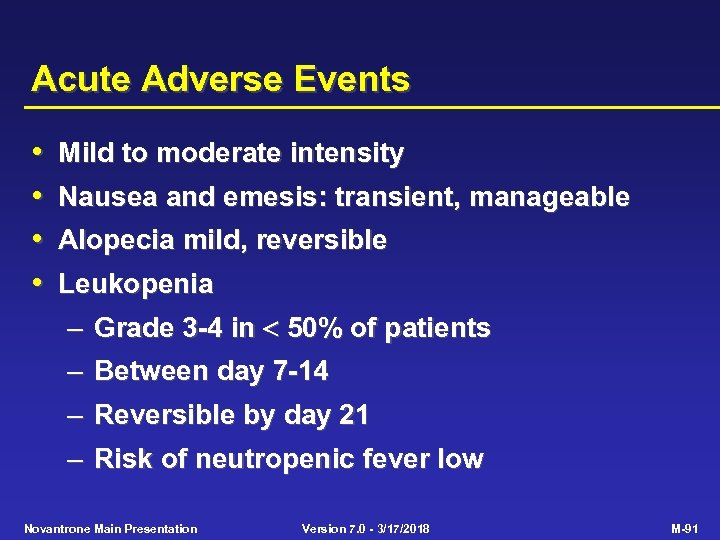 Acute Adverse Events • • Mild to moderate intensity Nausea and emesis: transient, manageable