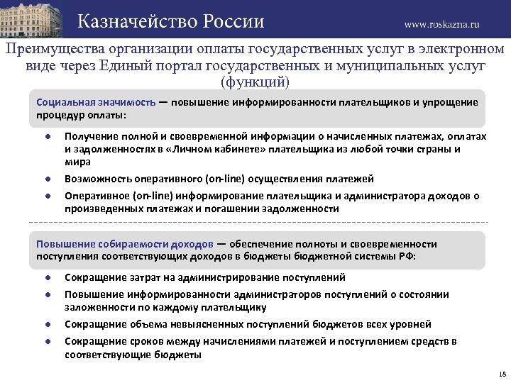 Преимущества организации оплаты государственных услуг в электронном виде через Единый портал государственных и муниципальных
