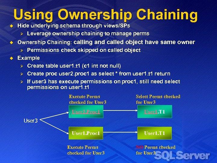 Using Ownership Chaining u Hide underlying schema through views/SPs Ø Leverage ownership chaining to