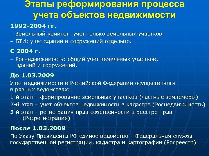 Этапы реформирования процесса учета объектов недвижимости 1992 -2004 гг. – Земельный комитет: учет только