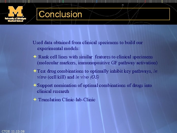 Conclusion Used data obtained from clinical specimens to build our experimental models: Rank cell