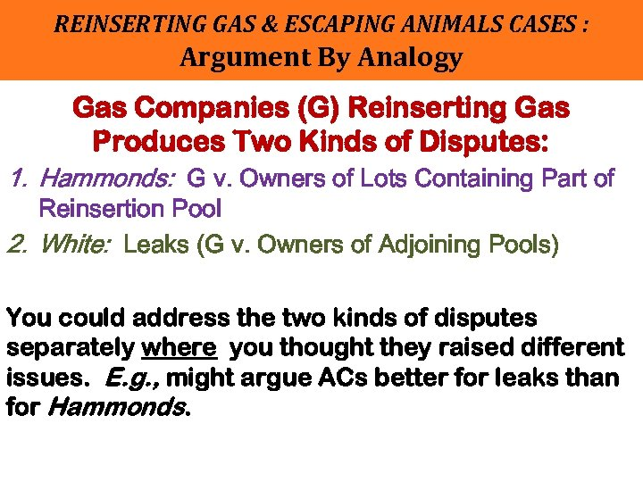 REINSERTING GAS & ESCAPING ANIMALS CASES : Argument By Analogy Gas Companies (G) Reinserting