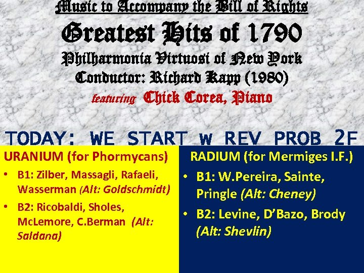 Music to Accompany the Bill of Rights Greatest Hits of 1790 Philharmonia Virtuosi of