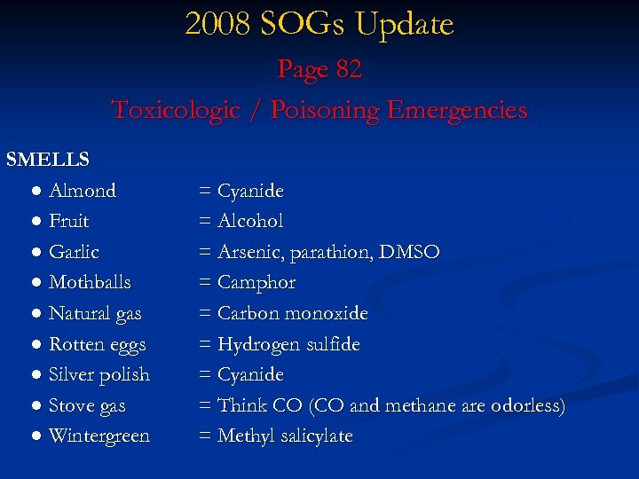 2008 SOGs Update Page 82 Toxicologic / Poisoning Emergencies SMELLS ● Almond ● Fruit