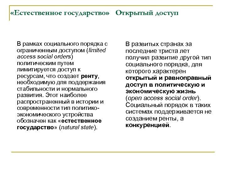 «Естественное государство» Открытый доступ В рамках социального порядка с ограниченным доступом (limited access