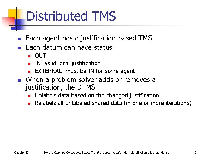 Distributed TMS n n Each agent has a justification-based TMS Each datum can have