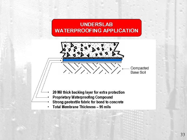 UNDERSLAB WATERPROOFING APPLICATION 33