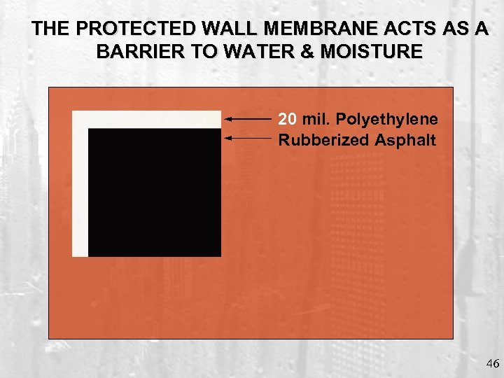 THE PROTECTED WALL MEMBRANE ACTS AS A BARRIER TO WATER & MOISTURE 20 mil.