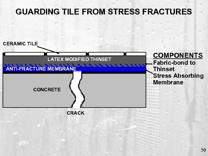 GUARDING TILE FROM STRESS FRACTURES CERAMIC TILE LATEX MODIFIED THINSET ANTI-FRACTURE MEMBRANE COMPONENTS Fabric-bond