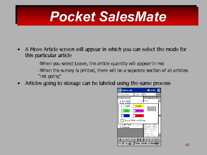 Pocket Sales. Mate • A Move Article screen will appear in which you can