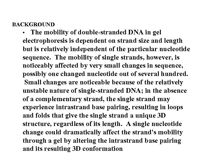 BACKGROUND • The mobility of double-stranded DNA in gel electrophoresis is dependent on strand