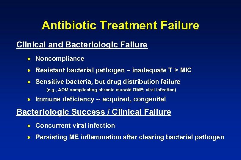 Antibiotic Treatment Failure Clinical and Bacteriologic Failure · Noncompliance · Resistant bacterial pathogen –
