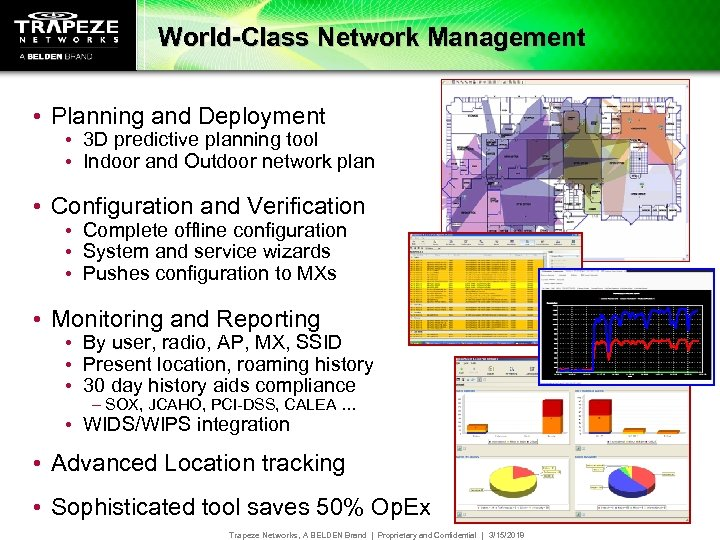 World-Class Network Management • Planning and Deployment • 3 D predictive planning tool •