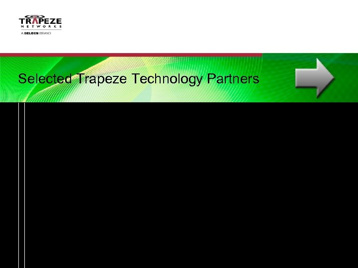 Selected Trapeze Technology Partners Trapeze Networks, A BELDEN Brand   Proprietary and Confidential  