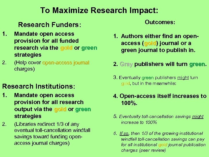 To Maximize Research Impact: Research Funders: Outcomes: 1. Mandate open access provision for all