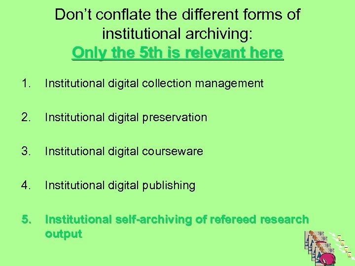 Don't conflate the different forms of institutional archiving: Only the 5 th is relevant