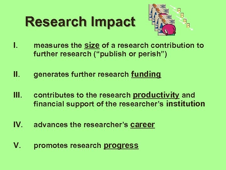 "Research Impact I. measures the size of a research contribution to further research (""publish"