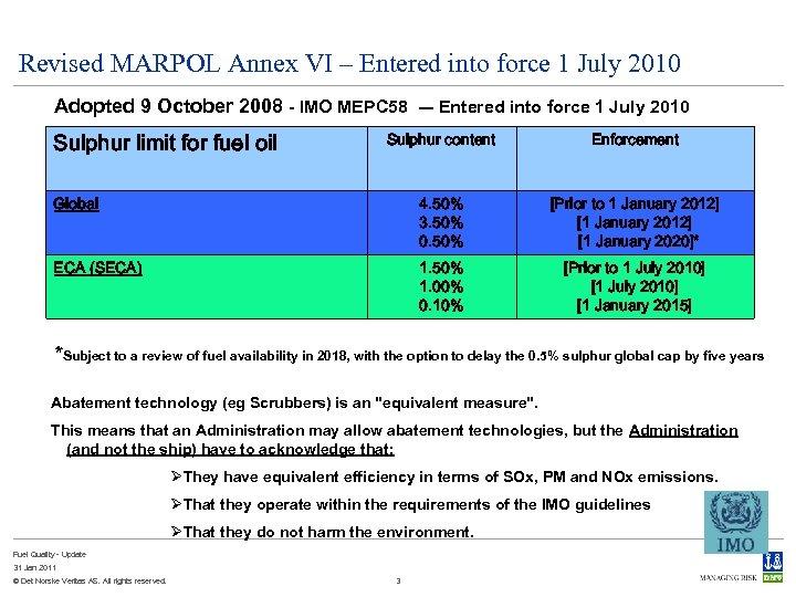 Revised MARPOL Annex VI – Entered into force 1 July 2010 Adopted 9 October
