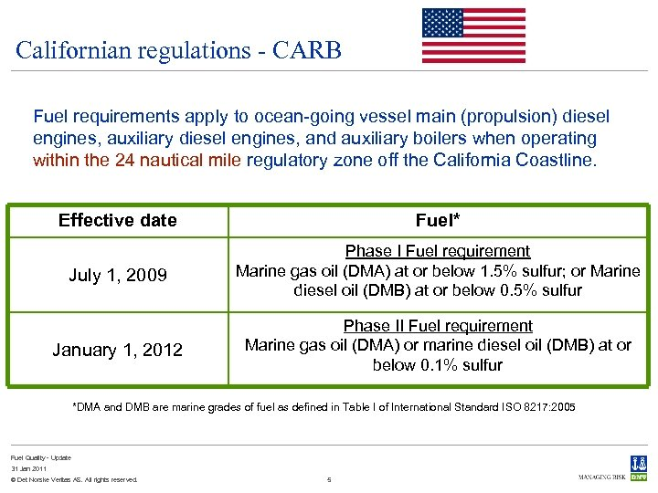 Californian regulations - CARB Fuel requirements apply to ocean-going vessel main (propulsion) diesel engines,