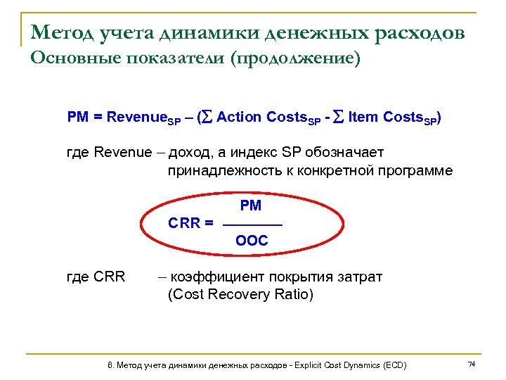 Метод учета динамики денежных расходов Основные показатели (продолжение) PM = Revenue. SP – (