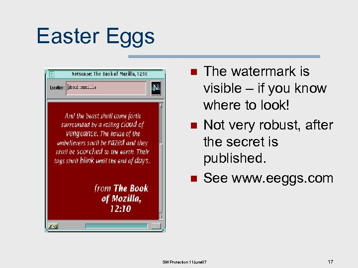 Easter Eggs n n n The watermark is visible – if you know where