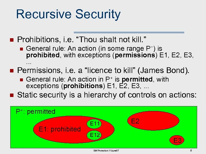 "Recursive Security n Prohibitions, i. e. ""Thou shalt not kill. "" n n Permissions,"