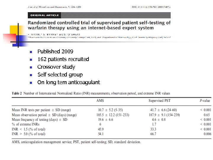 n n n Published 2009 162 patients recruited Crossover study Self selected group On