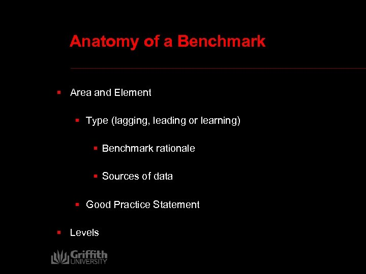 Anatomy of a Benchmark § Area and Element § Type (lagging, leading or learning)