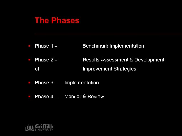 The Phases § Phase 1 – Benchmark Implementation § Phase 2 – Results Assessment