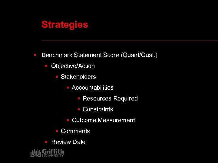 Strategies § Benchmark Statement Score (Quant/Qual. ) § Objective/Action § Stakeholders § Accountabilities §