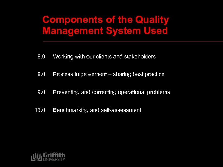 Components of the Quality Management System Used 6. 0 Working with our clients and