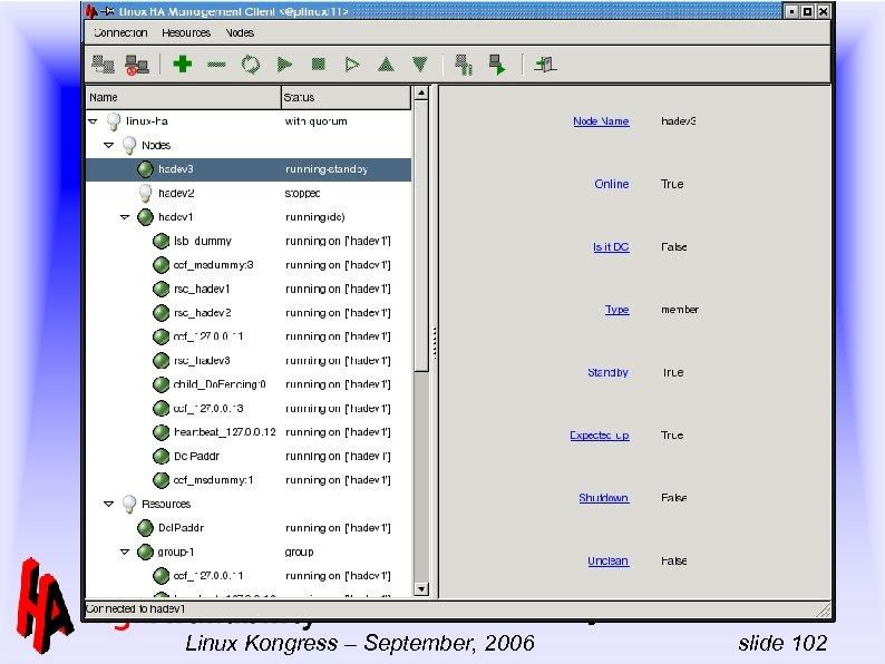 -- Linux-HA Full day tutorial Linux Kongress – September, 2006 slide 102