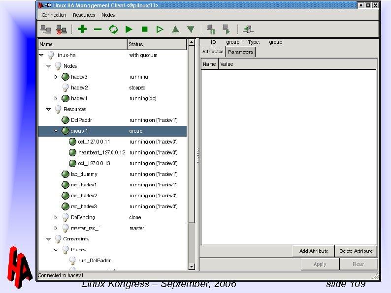 -- Linux-HA Full day tutorial Linux Kongress – September, 2006 slide 109