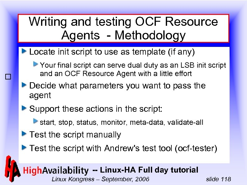 Writing and testing OCF Resource Agents - Methodology Locate init script to use as