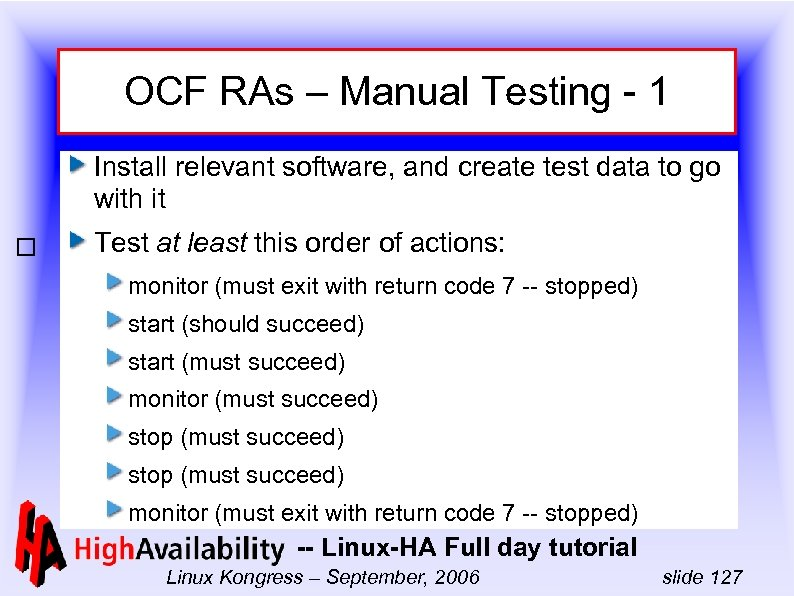 OCF RAs – Manual Testing - 1 Install relevant software, and create test data